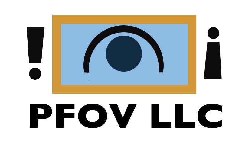 "Image=Exclamation marks one upside down on either side of an eye within a rectangle.  Beneath this are the words ""PFOV LLC"""